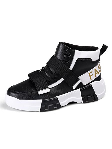 Milanoo Zapatillas altas de hombre Zapatillas deportivas de moda con punta redonda de color Bloque de altura