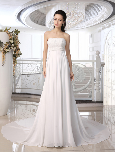 Milanoo Ivory Strapless Wedding Dress With Beaded Applique