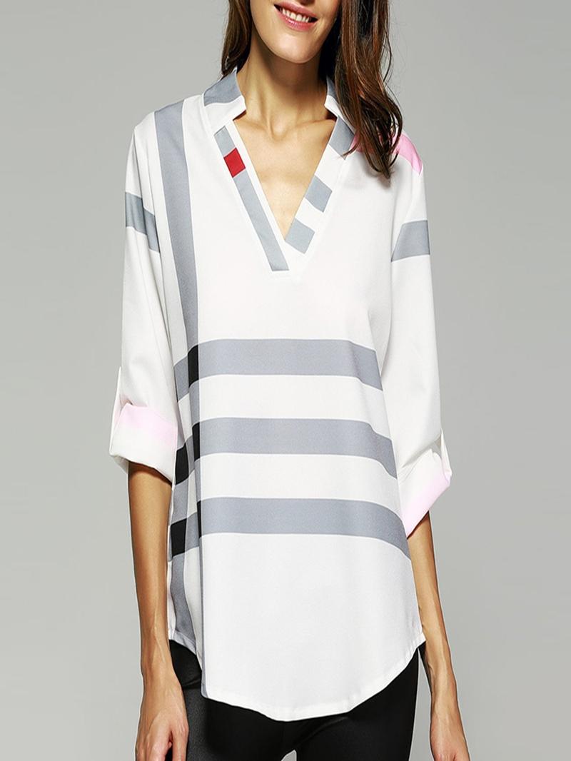 Ericdress Asymmetric Notch-V Loose Stripe Long Sleeve Womens Blouse