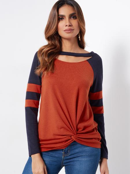 Yoins Orange Stripe Round Neck Cutout Design Long Sleeves Twist Front T-shirts