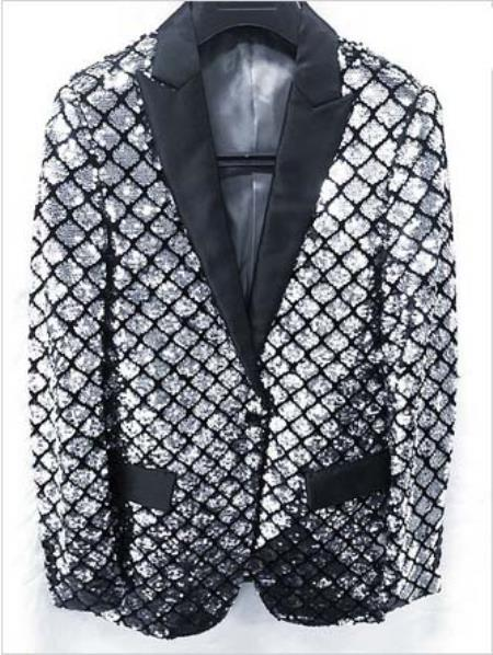 Mens Shiny Flashy Fashion Silver Sequin Blazer Sportcoat Dinner Jacket