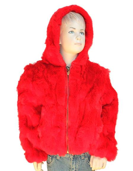 Kid's Fur Handmade Red Rabbit Pull Up Zipper Jacket