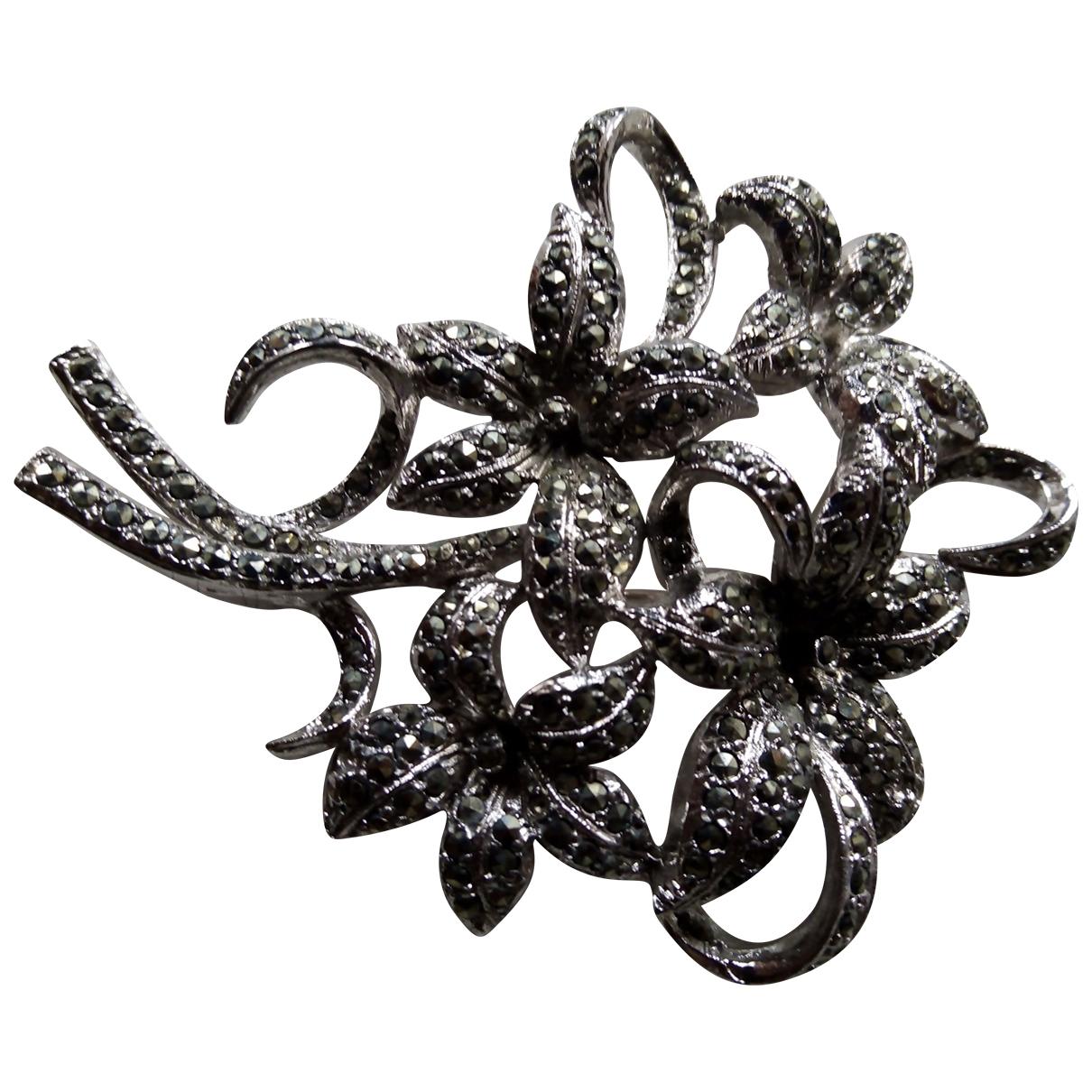 Non Signe / Unsigned Motifs Floraux Brosche in  Silber Metall