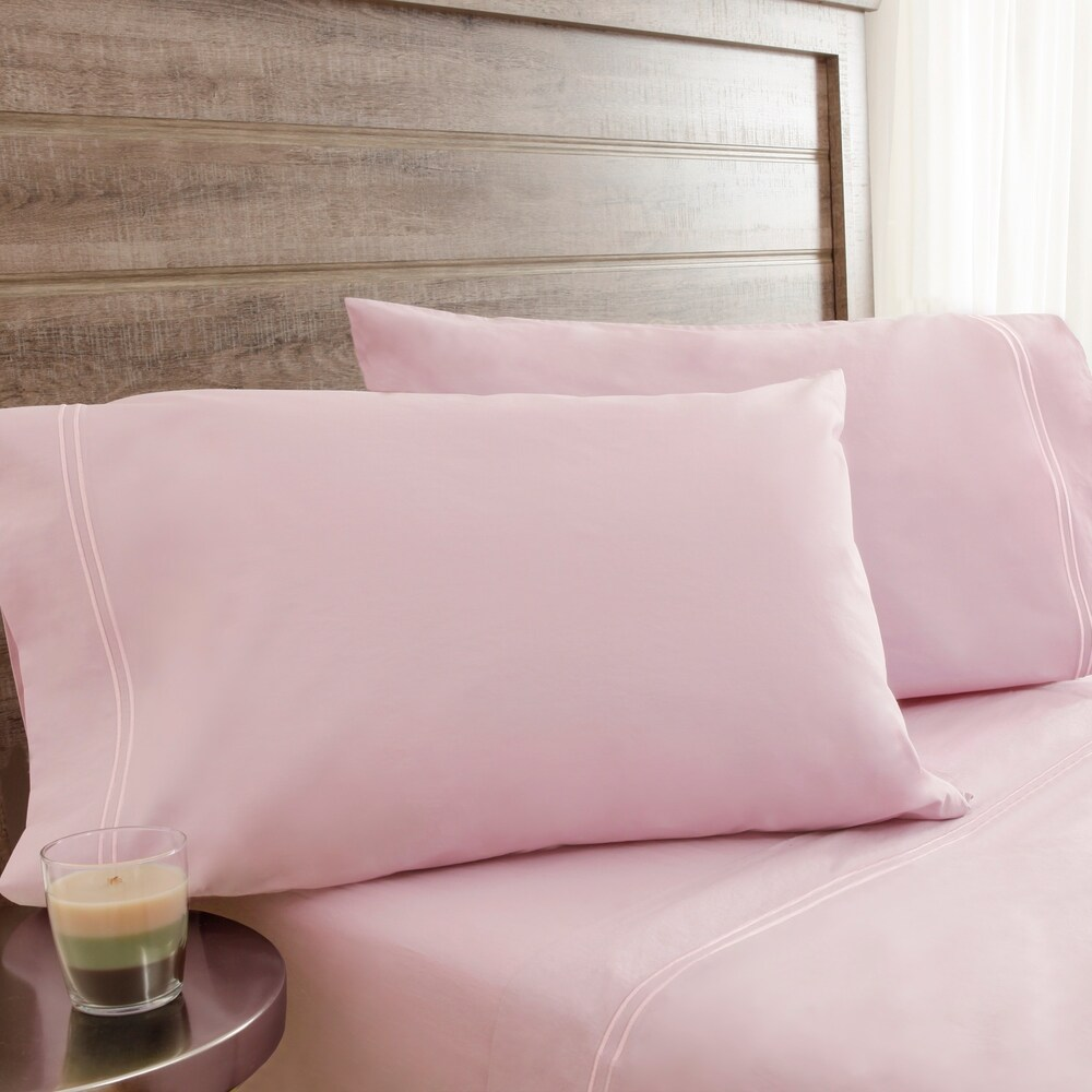 Elite Home Products 200 Thread Count Soft Washed Percale Soft Pink Bed Sheet Sets (4 Piece - King - 300 - 499/299 and Below)