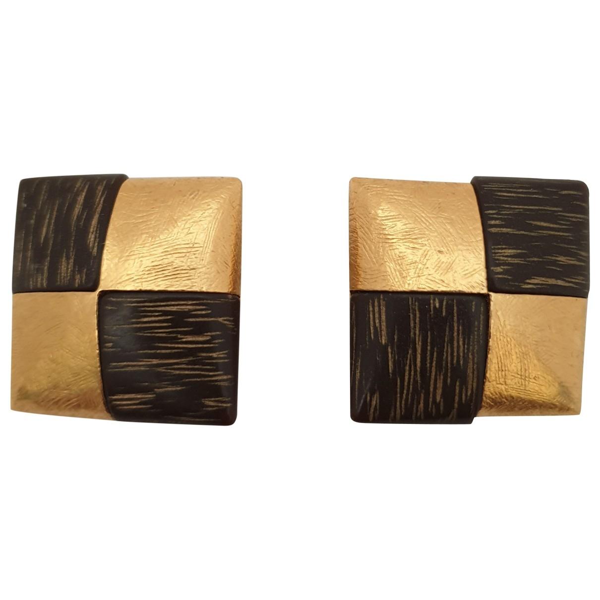 Yves Saint Laurent - Boucles doreilles   pour femme en bois - dore