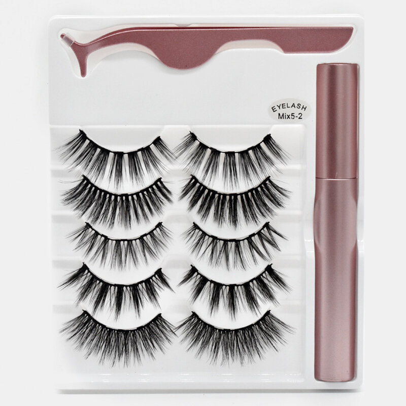 5 Pairs Magnetic False Eyelashes Magnetic Liquid Eyeliner Set Magnets Natural Eyelashes Extension Lasting Magnetic Makeu