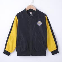 Boys Badge Graphic Colorblock Wind Bomber Jacket