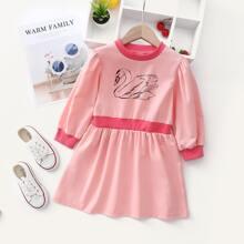 Sweatshirt Kleid mit Schwan Muster