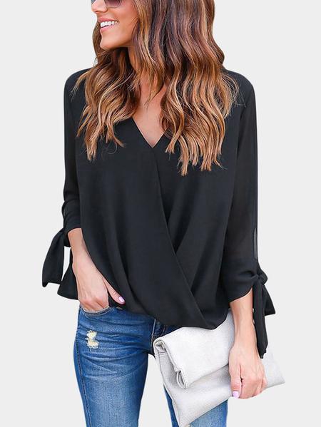 Yoins Black Crossed Front Design V-neck Lace Up Details Long Sleeves Blouse