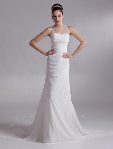 Milanoo Vestido de novia de gasa de color marfil con diamantes de imitacion sin tirantes de cola larga