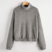 Drop Shoulder Teddy Sweatshirt