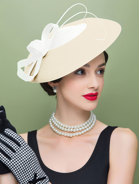 Milanoo Vintage Flapper Hat White Color Block Knotted Headpiece Bowler Hat Halloween