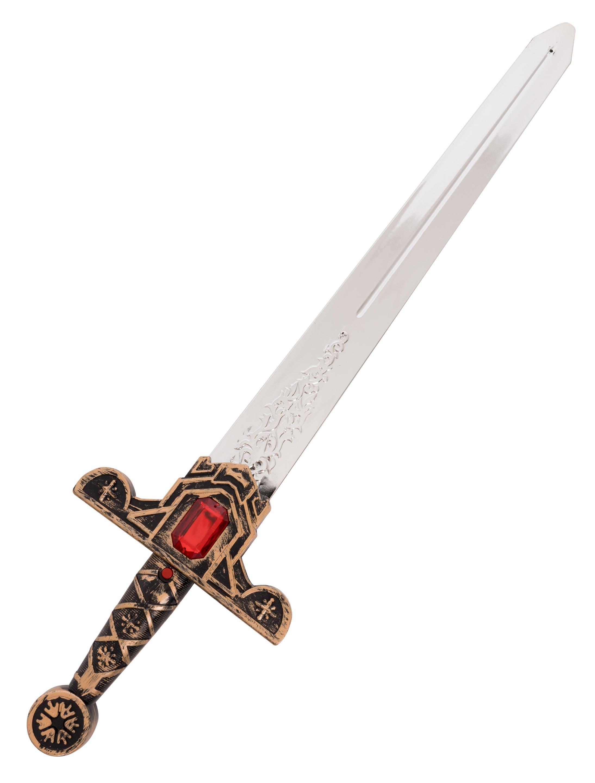 Kostuemzubehor Ritterschwert mit Sound Stein eckig rot