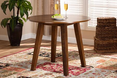 RH7230T-WALNUT-35-IN-DT Ela Modern and Contemporary Walnut Brown Finished 35-Inch-Wide Round Wood Dining