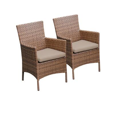 TKC093b-DC-WHEAT 2 Laguna Dining Chairs With Arms with 2 Covers: Wheat and