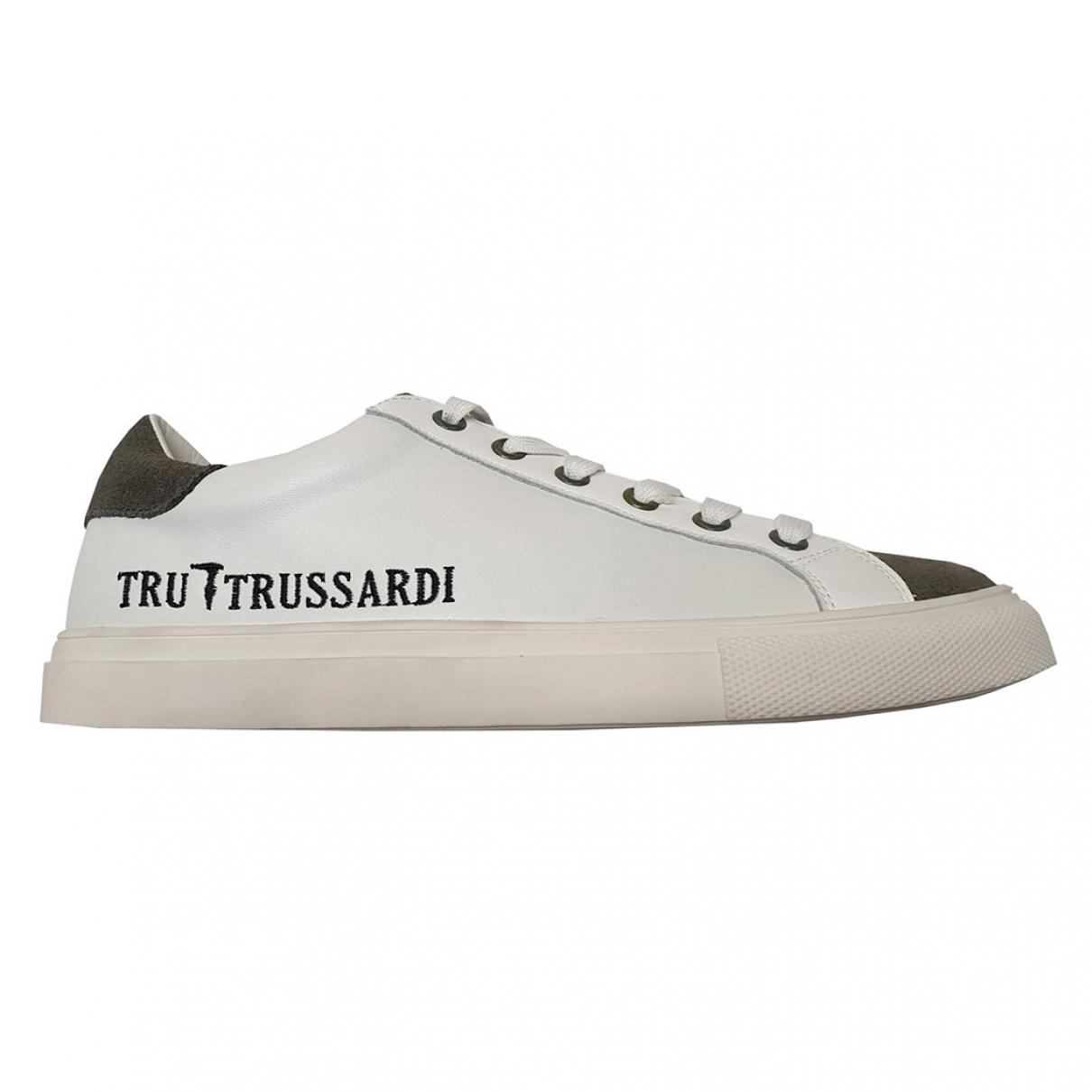 Trussardi - Baskets   pour homme en cuir - blanc