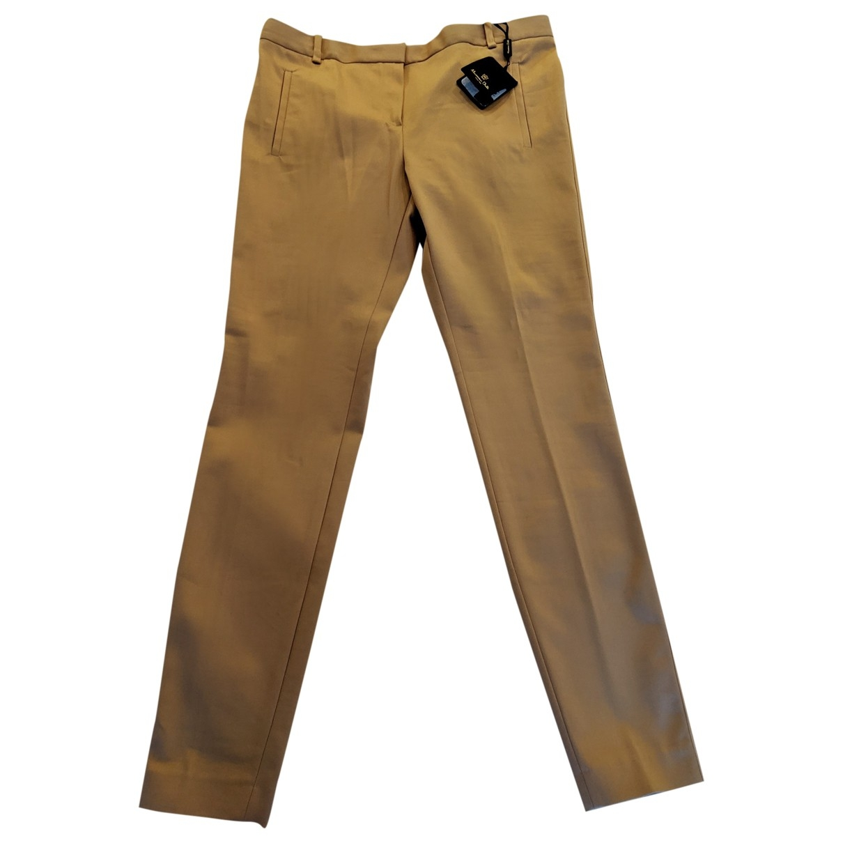 Massimo Dutti \N Camel Cotton Trousers for Women 42 FR
