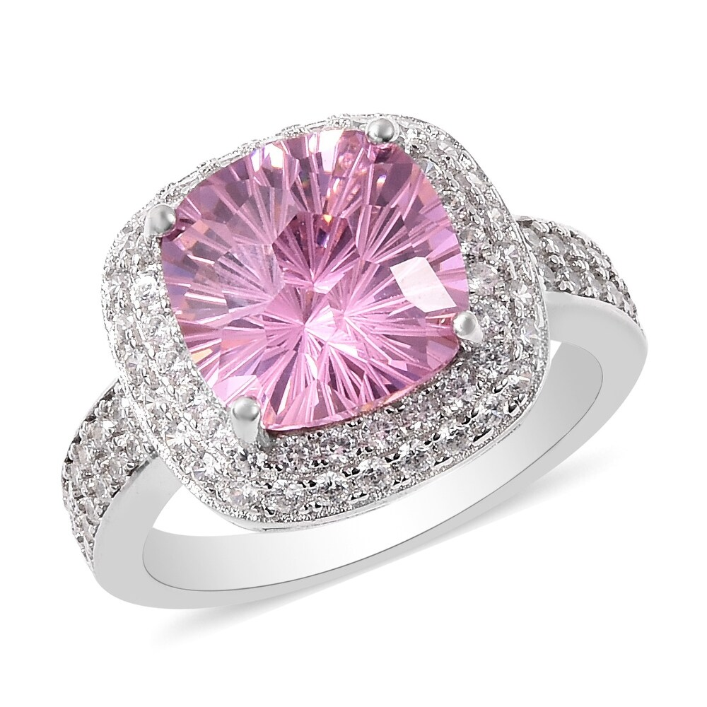 Platinum Over 925 Silver Pink White Cubic Zirconia Ring Size 7 Ct 9.2 - Ring 7 (Pink - Pink - Ring 7)