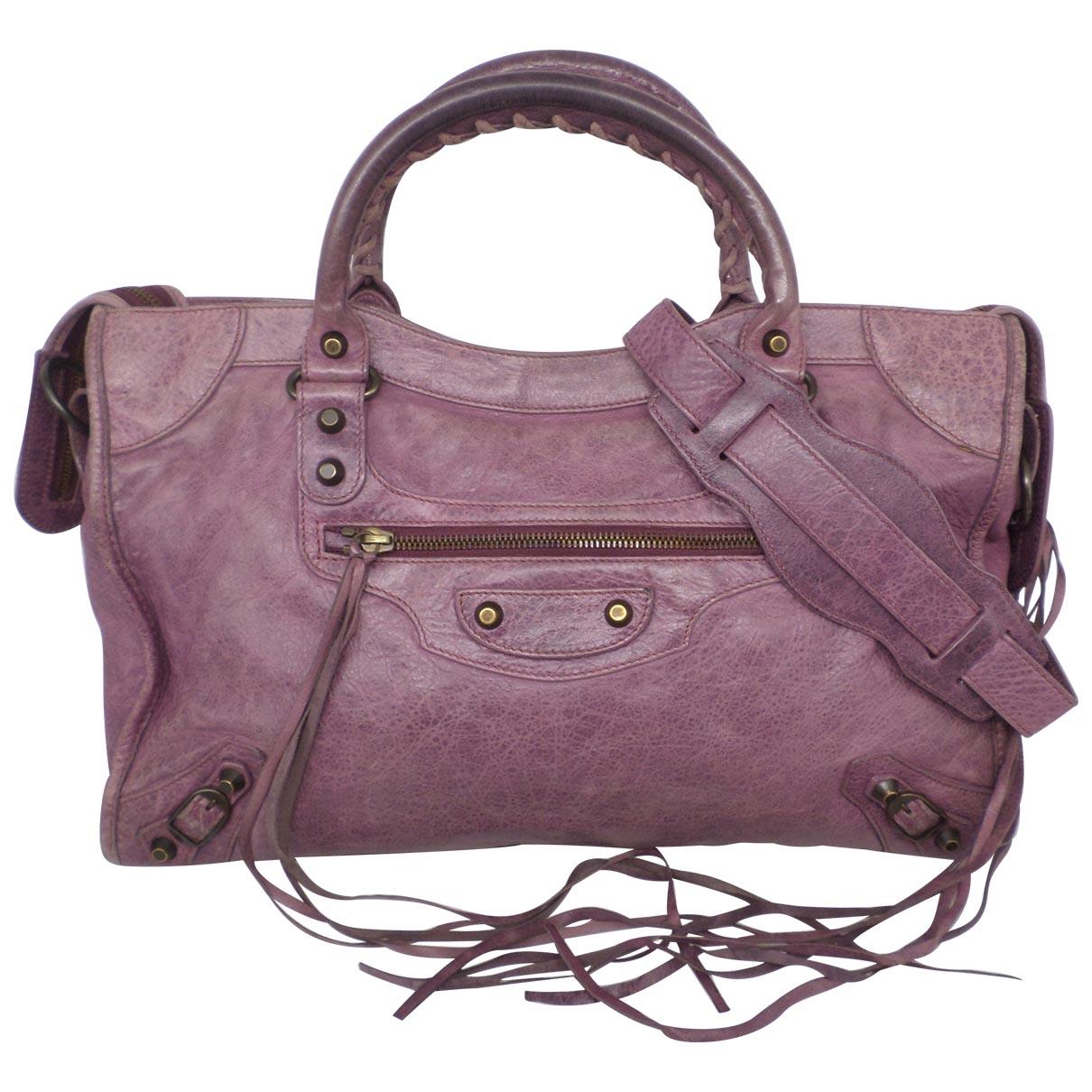 Balenciaga - Sac a main City pour femme en cuir - violet