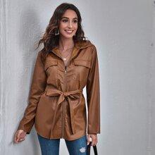 PU Leder Mantel mit Taschen Klappe, Guertel und Reissverschluss