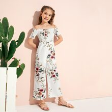 Girls Shirred Bodice Wide Leg Floral Bardot Jumpsuit