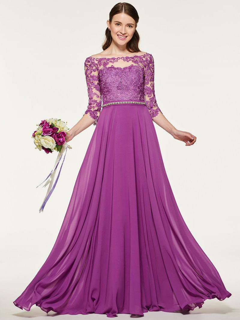 Ericdress Bateau Neck Backless Appliques Bridesmaid Dress