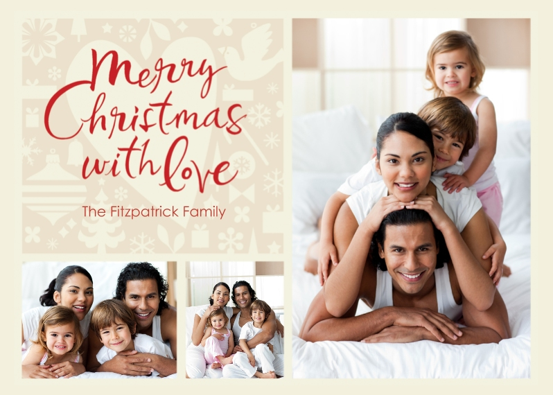 Christmas Photo Cards 5x7 Cards, Premium Cardstock 120lb, Card & Stationery -Merry Christmas With Love