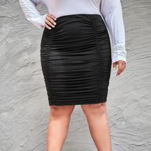 Plus Solid Ruched Skirt
