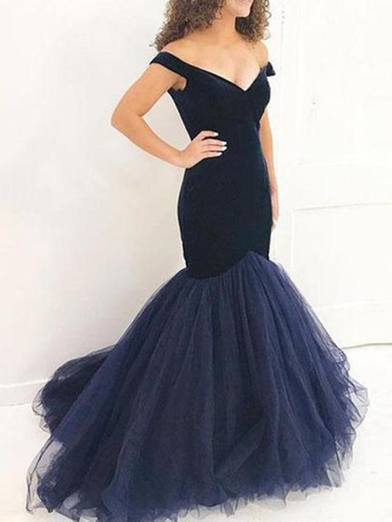 Ericdress V-Neck Cap Sleeves Mermaid Evening Dress