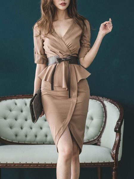 Milanoo Vestidos ajustados de color caqui Mangas cortas con cordones Vestido de tubo ajustado con cuello en V sexy Vestido ajustado