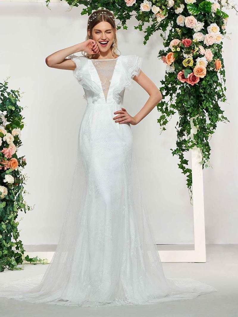 Ericdress Ruffles Sleeves Button Lace Wedding Dress