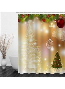 Wonderful Bathroom Christmas Decor Waterproof 3D Shower Curtain