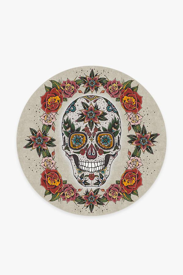 Washable Rug Cover   Sugar Skull Rug   Stain-Resistant   Ruggable   6' Round
