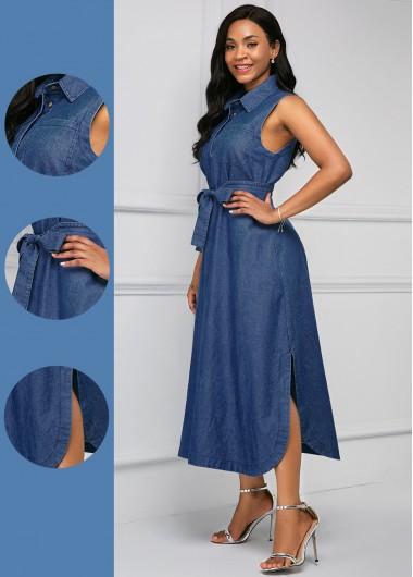 Rosewe Women Denim Blue Side Slit Casual Shirt Dress Solid Color Turndown Collar High Waisted Maxi Sleeveless Denim Dress - XL
