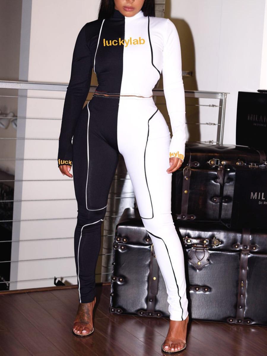 LW lovely Sportswear Turtleneck Letter Print Patchwork Black Two Piece Pants Set
