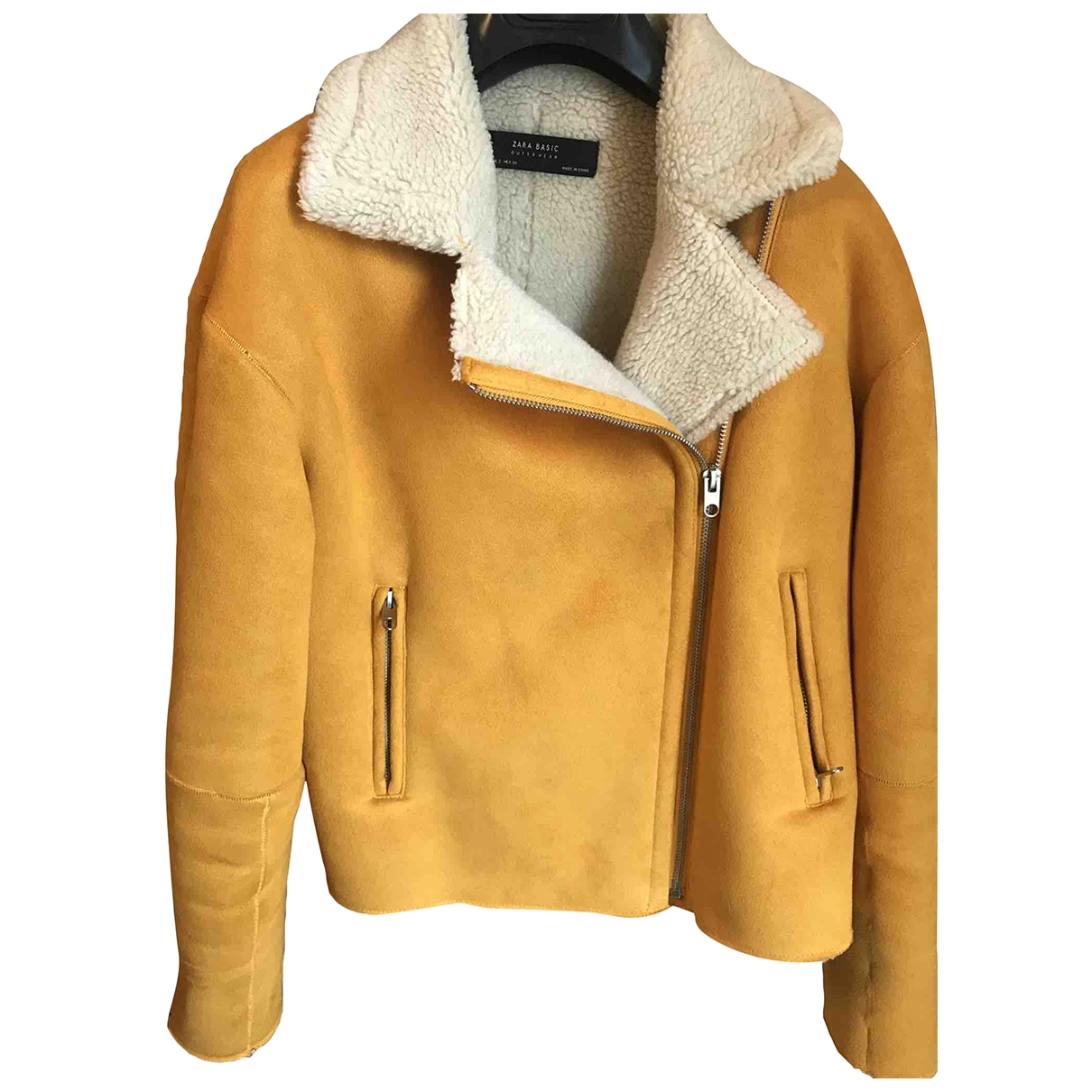 Zara - Manteau   pour femme en fourrure synthetique - jaune