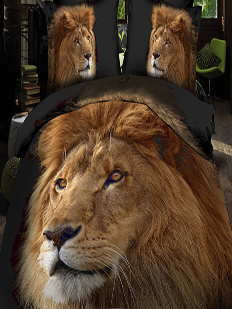 Vivilinen Golden Lion Head 3D Printed Polyester 4-Piece Bedding Sets