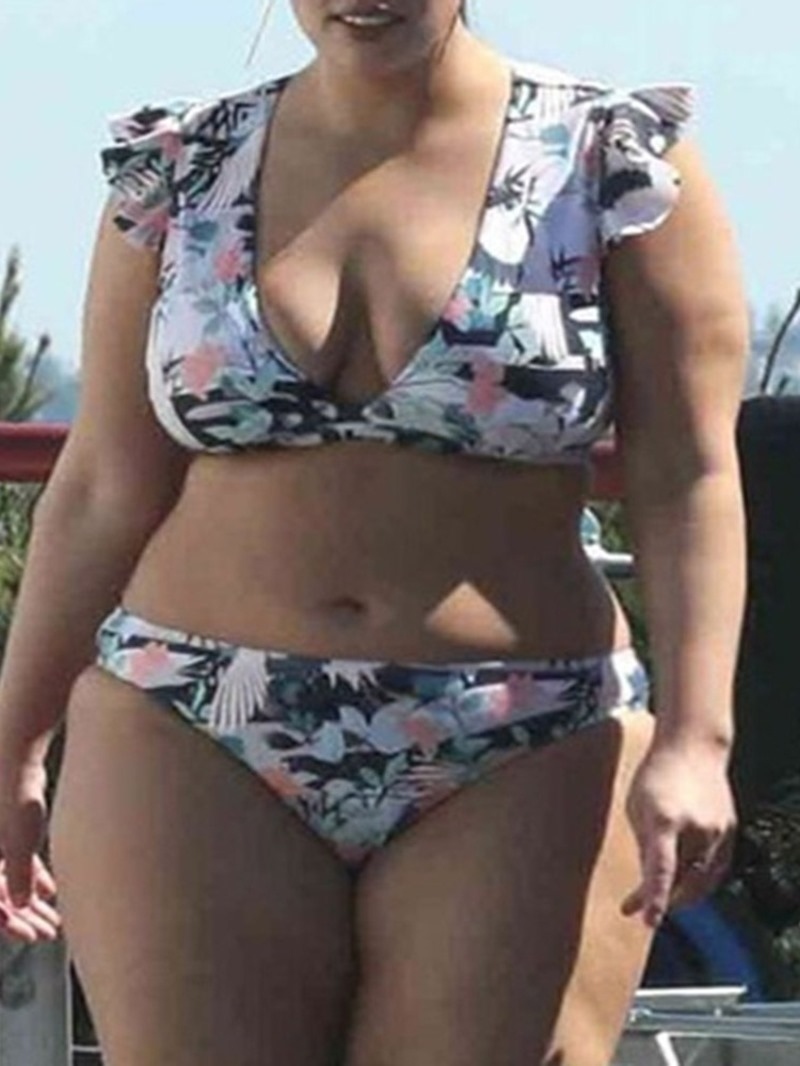Ericdress Tankini Set Print Plus Size Ruffles Swimsuit