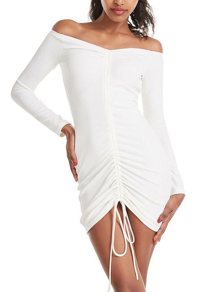 Milanoo Vestido de verano con cordon fuera del hombro con cordon Vestido de playa corto blanco crudo crudo