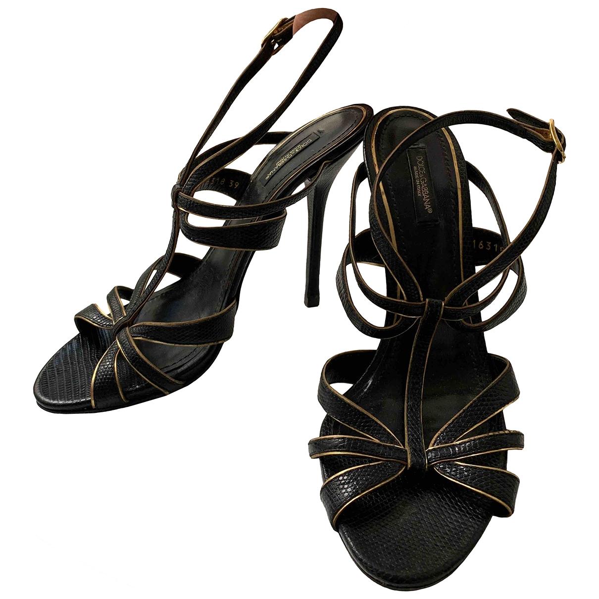 Dolce & Gabbana \N Black Leather Sandals for Women 39 EU