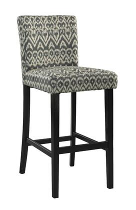Morocco Collection 0225DRIF-01-KD-U Counter Height Stool with Footrest Support  Ikat Design  Black Finished Pine Wood Frame and Sueded Microfiber