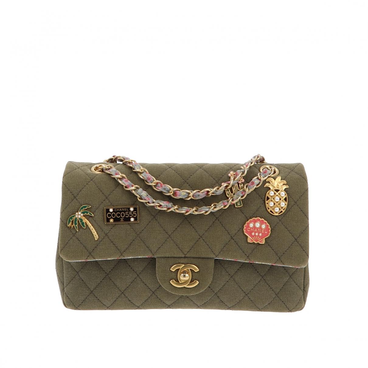 Chanel Timeless/Classique Green Linen handbag for Women \N