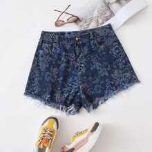 Plus Floral Raw Hem Denim Shorts
