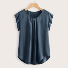 Curved Hem Fold Pleated Detail Top