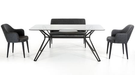 VGEUMC-6112DTBDGCH Modrest Synergy 71 Rectangular Dining Table + 2 Dark Grey Colored Chairs + 1
