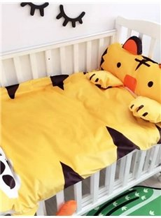 Tiger Shape Coral Velvet 3-Piece Yellow Baby Sleeping Bag