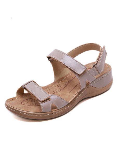 Milanoo Wedge Sandals For Woman Attractive PU Leather Open Toe Skid Resistant