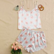 Plus Daisy Floral And Confetti Print Pajama Set