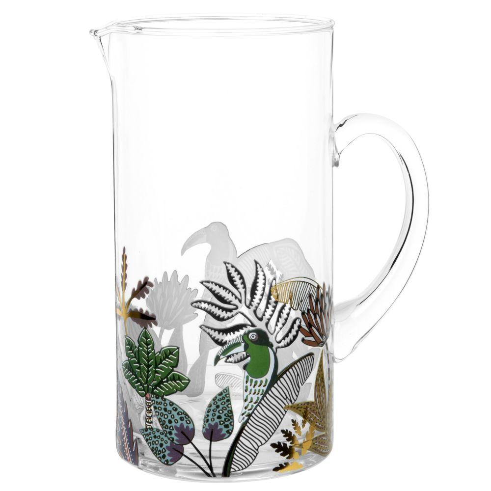 Glaskaraffe, bedruckt mit Tropenmotiv und buntem Tukan, 1,3 l