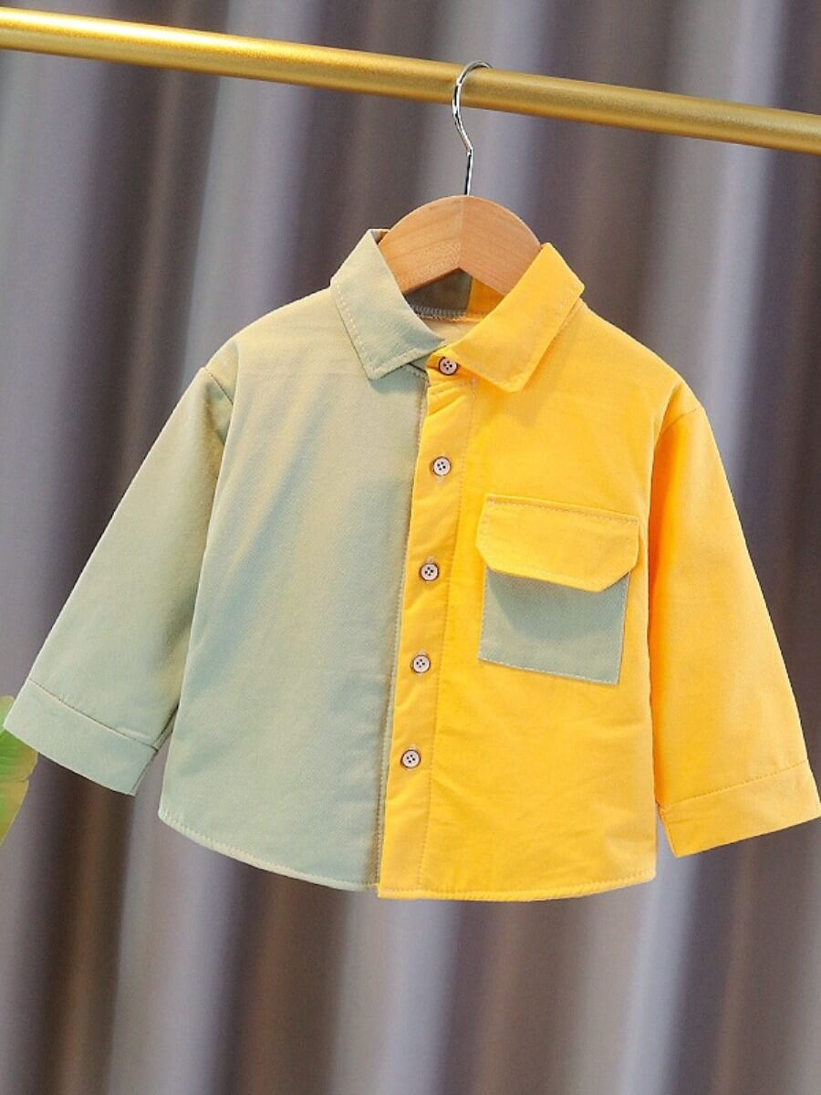 LW Lovely Street Shirt Collar Patchwork Yellow Boy Shirt